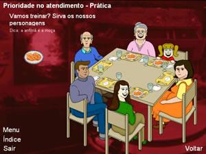 Interface do ambiente: Prioridade no Atendimento - Atendimento no Restaurante - prática serviço de mesa