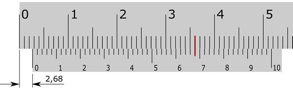 Escala subdividida por um nônio com cinquenta divisões